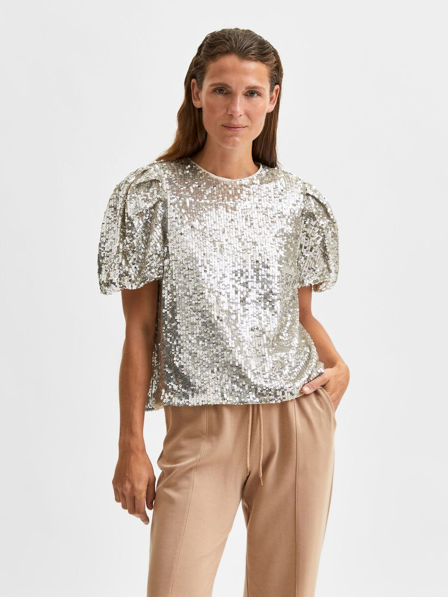 Selected SEQUIN PUFF SLEEVED TOP, Silver, highres - 16080558_Silver_003.jpg