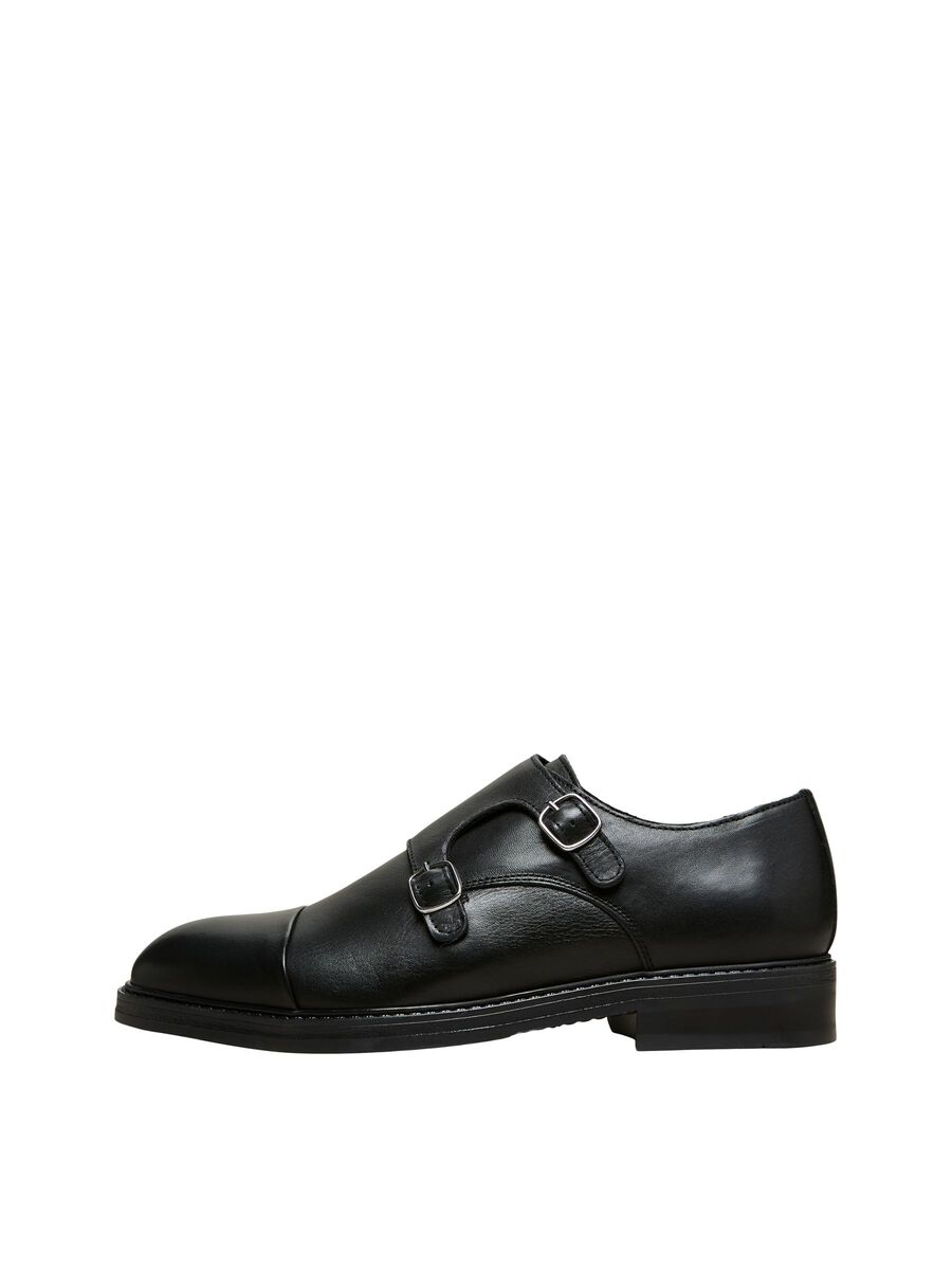 Selected CUIR CHAUSSURES À BOUCLES, Black, highres - 16081464_Black_001.jpg