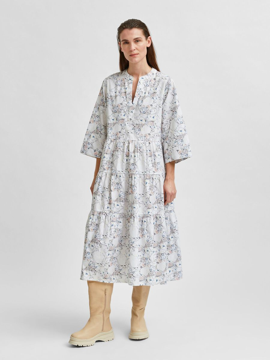 Selected A-SHAPED BELTED ORGANIC COTTON DRESS, Snow White, highres - 16076870_SnowWhite_812459_003.jpg