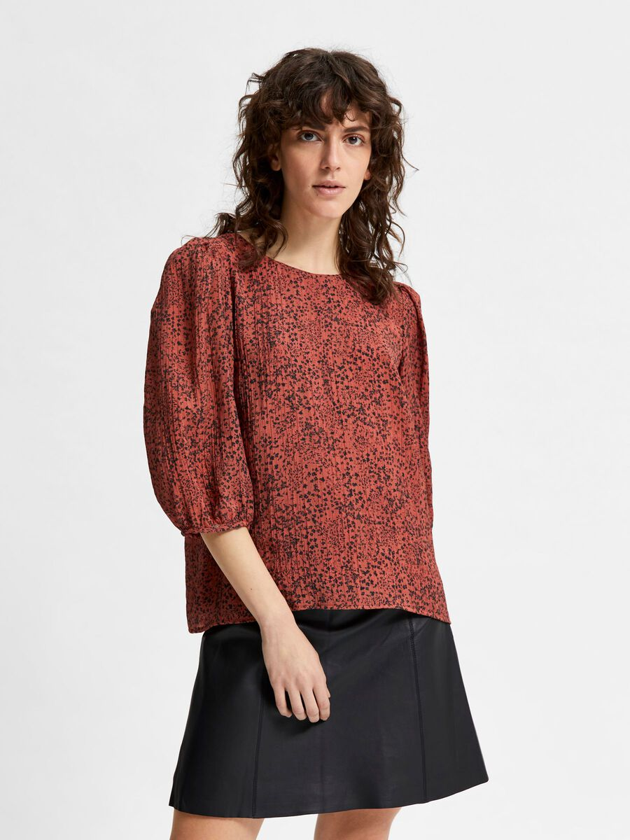 Selected PLEATED VOLUMINOUS SLEEVES TOP, Chili Oil, highres - 16081202_ChiliOil_881697_003.jpg