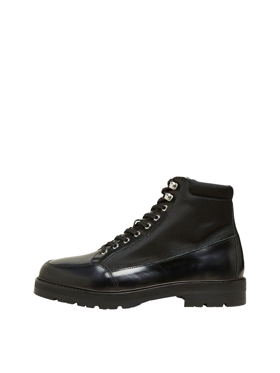 Selected LEATHER ANKLE BOOTS, Black, highres - 16081337_Black_001.jpg