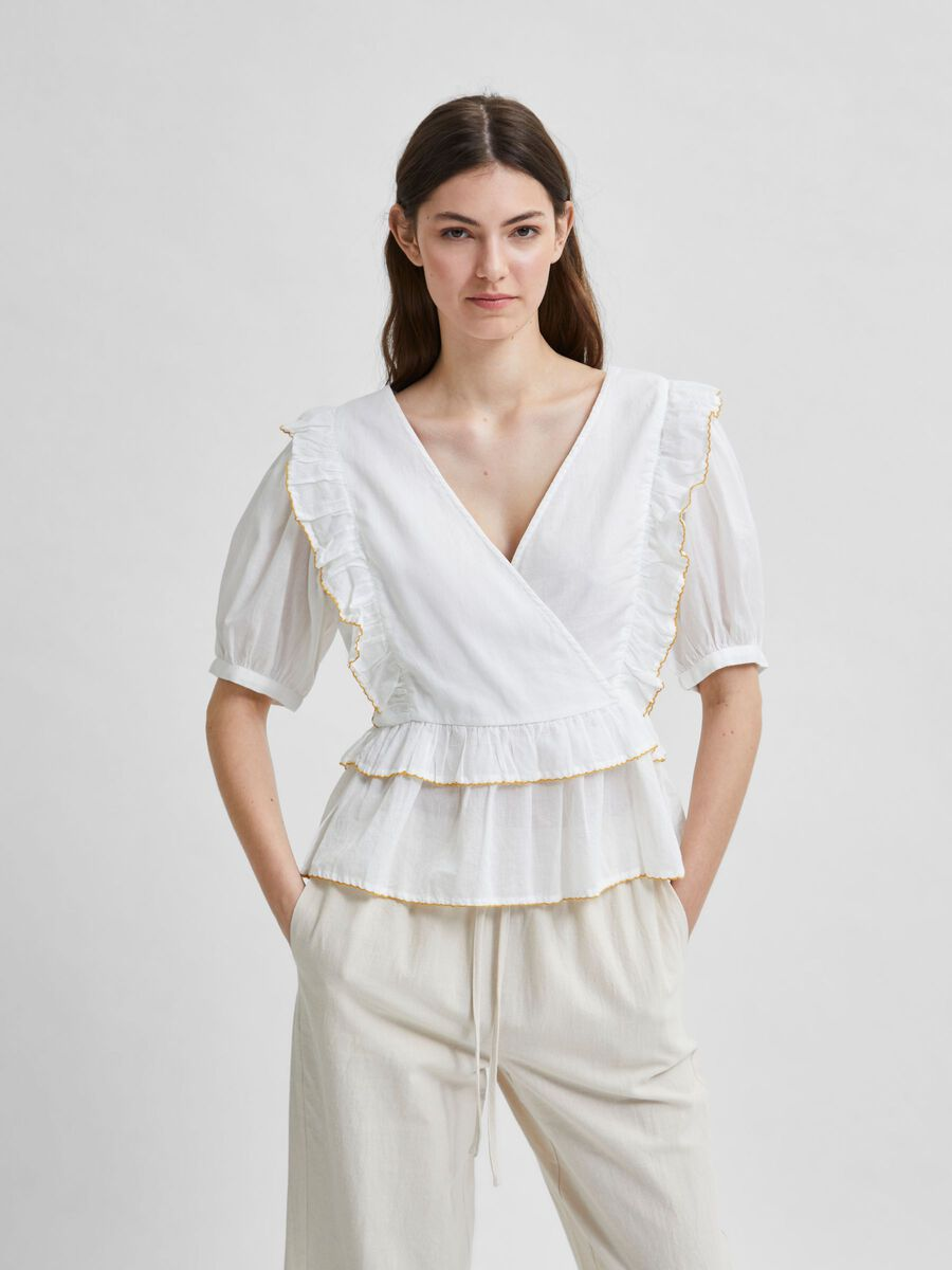 Selected WRAP FRILL PUFF SLEEVES TOP, Snow White, highres - 16078944_SnowWhite_003.jpg