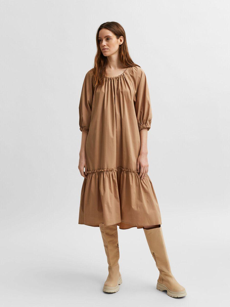 Selected LOOSE FIT POPLIN DRESS, Tigers Eye, highres - 16081430_TigersEye_003.jpg
