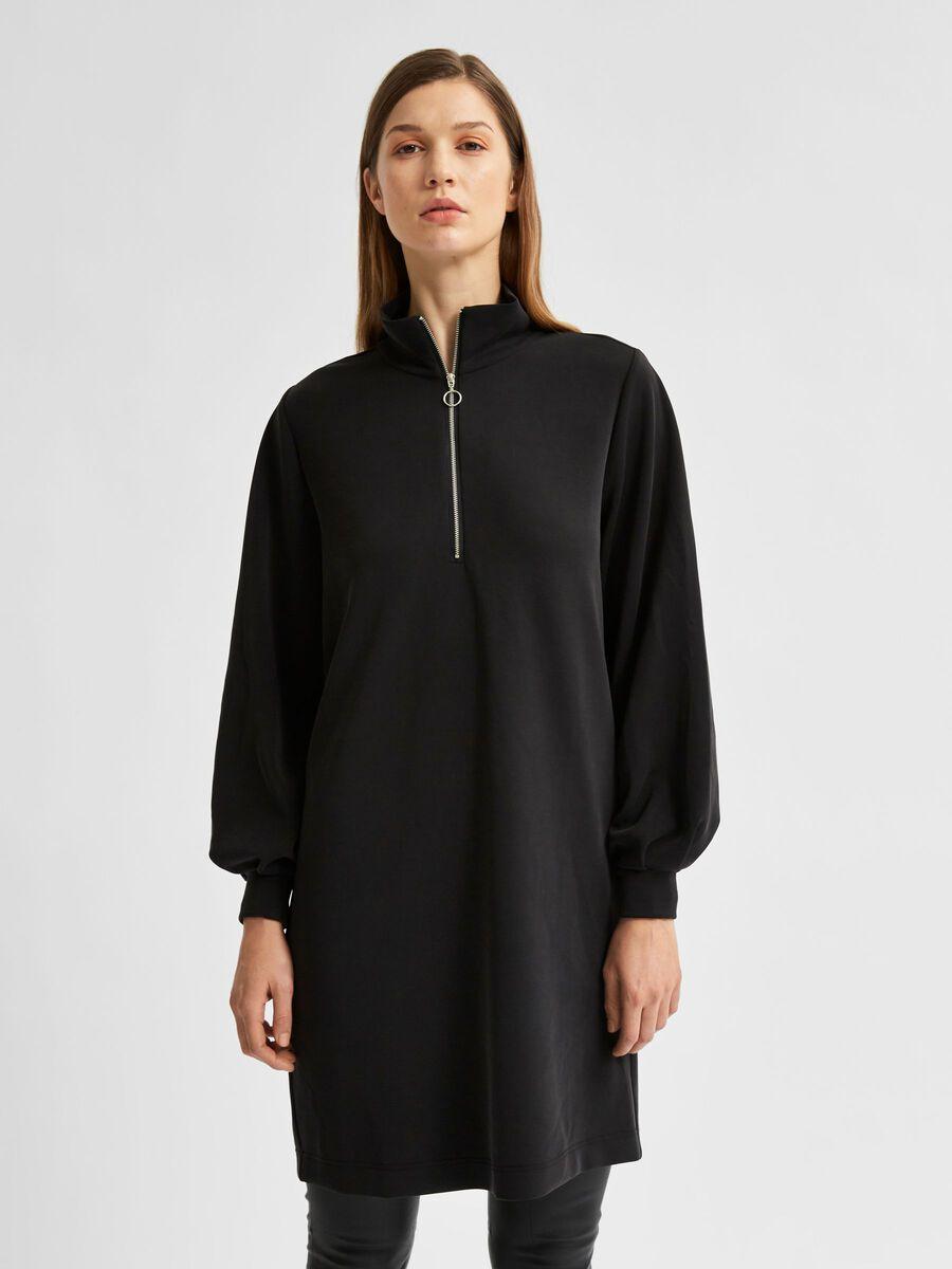 Selected SOFT TOUCH HALF ZIP SWEAT DRESS, Black, highres - 16079999_Black_003.jpg