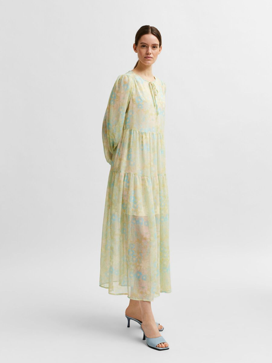 Selected PASTEL FLORAL PRINT PRAIRIE DRESS, Young Wheat, highres - 16079013_YoungWheat_845845_003.jpg