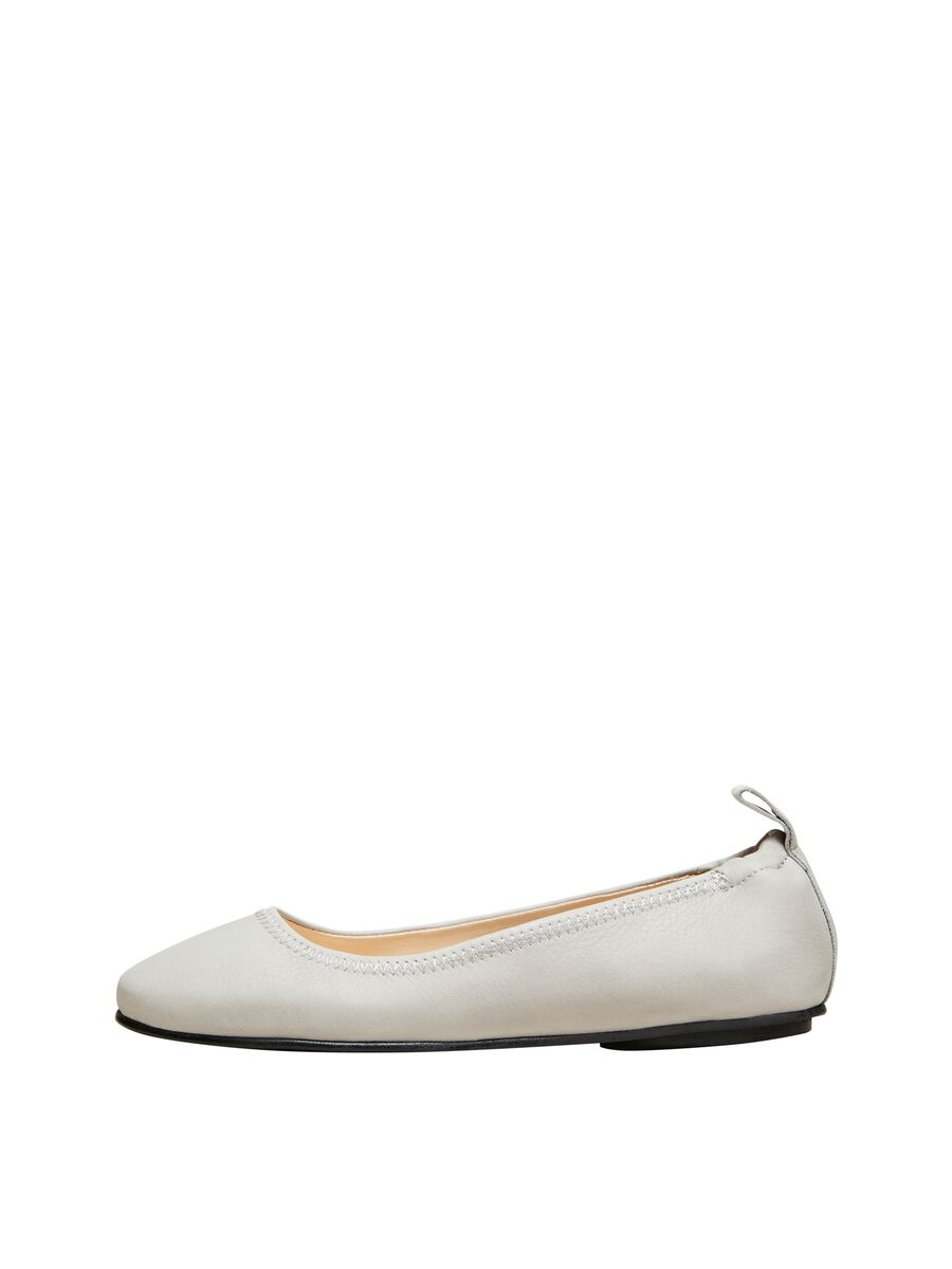 Selected SOFT LEATHER BALLET FLATS, Drizzle, highres - 16078807_Drizzle_001.jpg