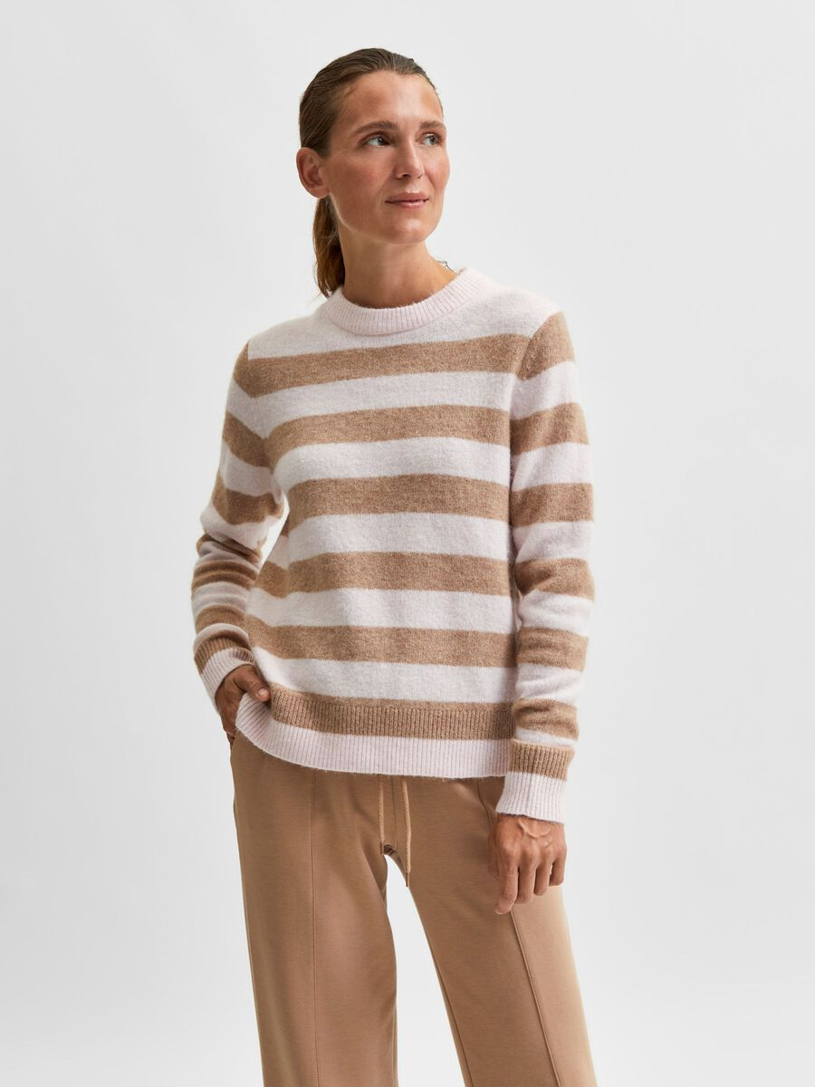 Selected STRIPED KNITTED PULLOVER, Chalk Pink, highres - 16080457_ChalkPink_874416_003.jpg