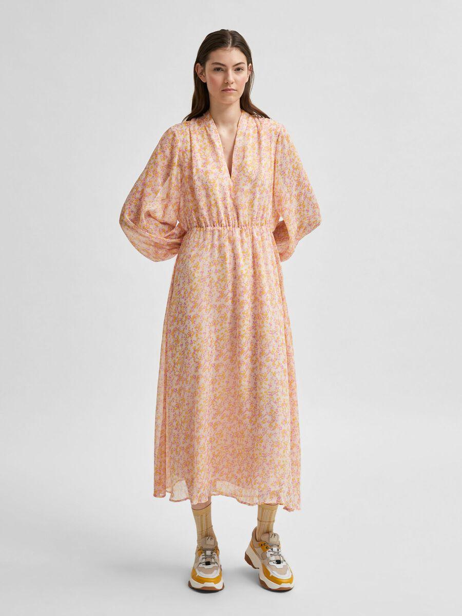 Selected RECYCLED POLYESTER FLORAL PRINT DRESS, Opera Mauve, highres - 16078101_OperaMauve_826155_003.jpg