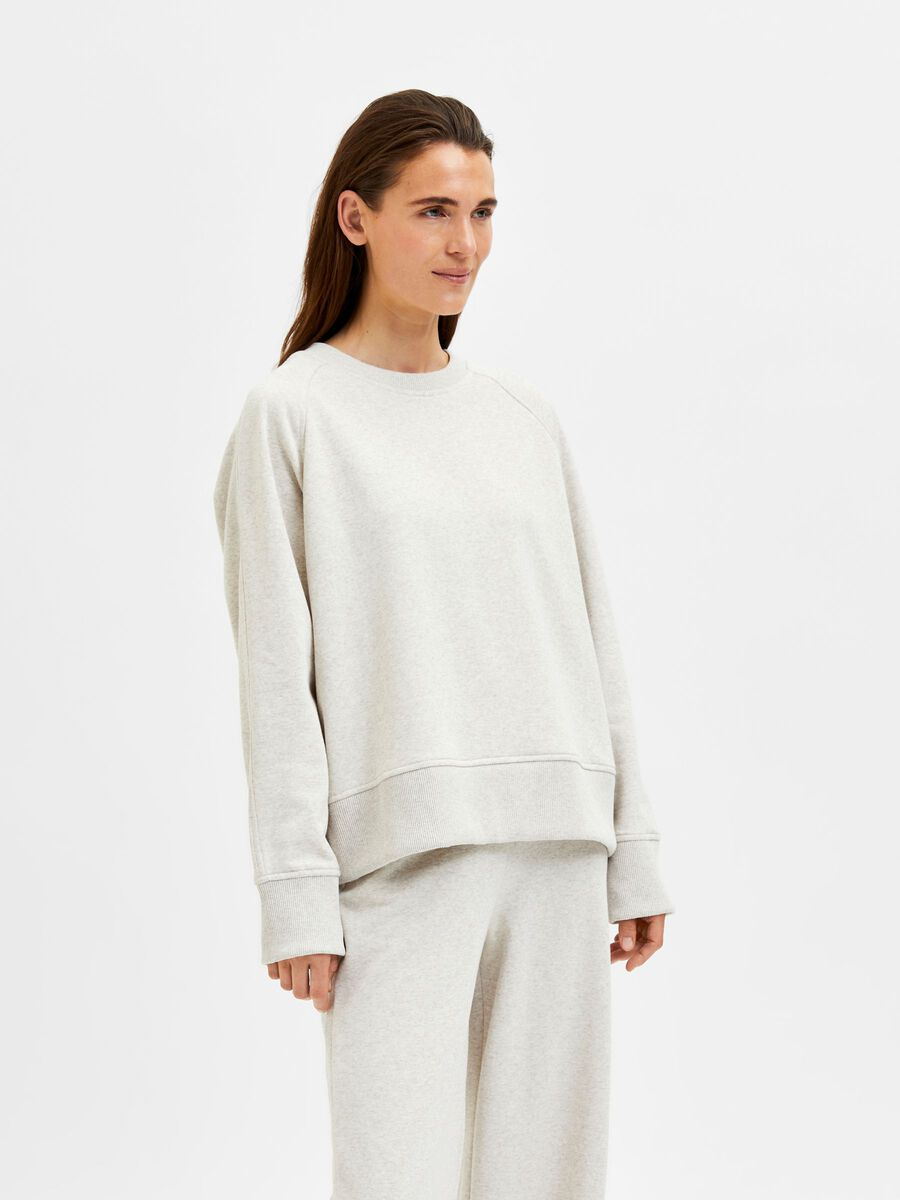 Selected MANCHES LONGUES SWEAT-SHIRT, Sand, highres - 16080891_Sand_876927_003.jpg