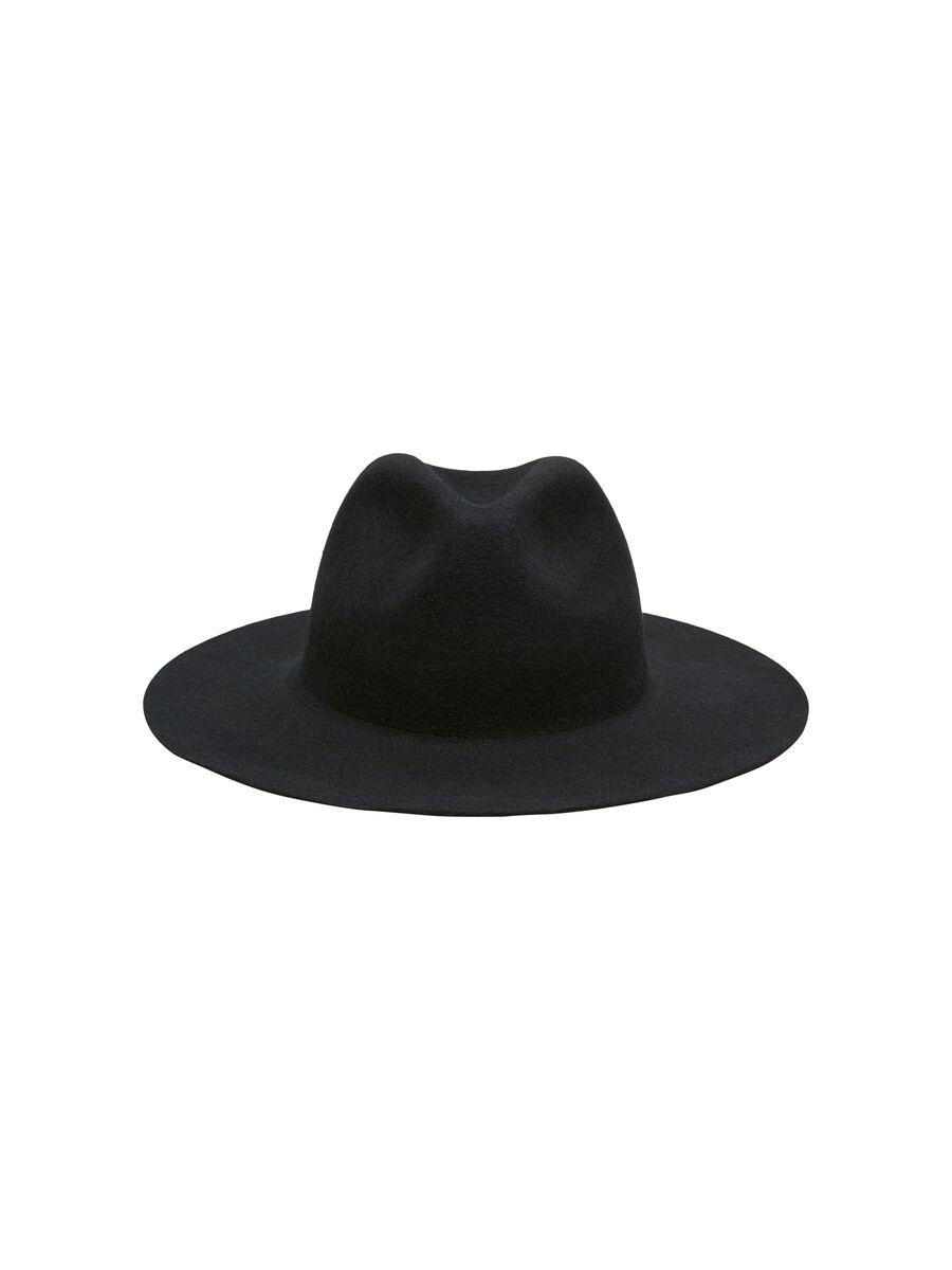 Selected WOOL FEDORA - HAT, Black, highres - 16074977_Black_001.jpg