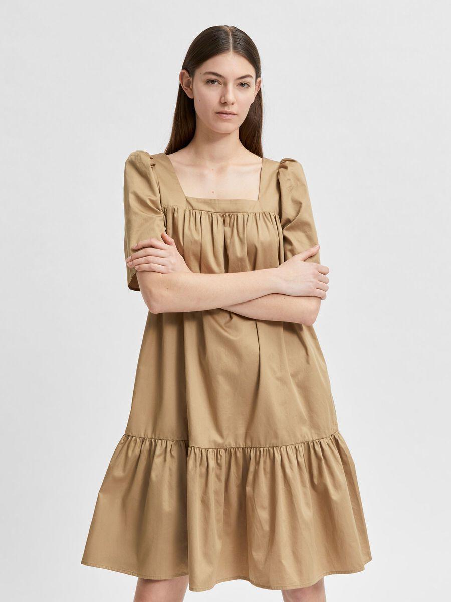 Selected PUFF SHOULDER SQUARE NECK DRESS, Kelp, highres - 16079010_Kelp_003.jpg