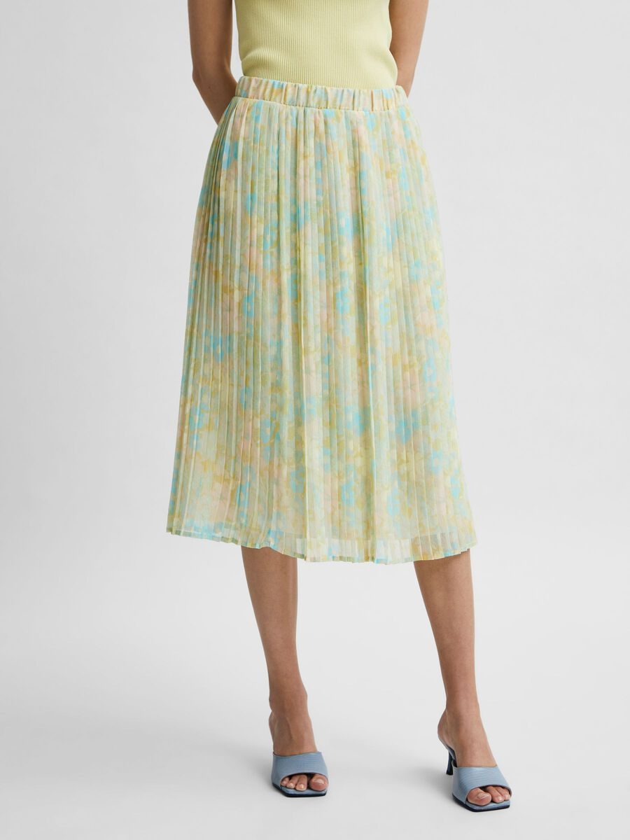 Selected PLEATED PASTEL FLORAL PRINT SKIRT, Young Wheat, highres - 16079016_YoungWheat_845846_003.jpg