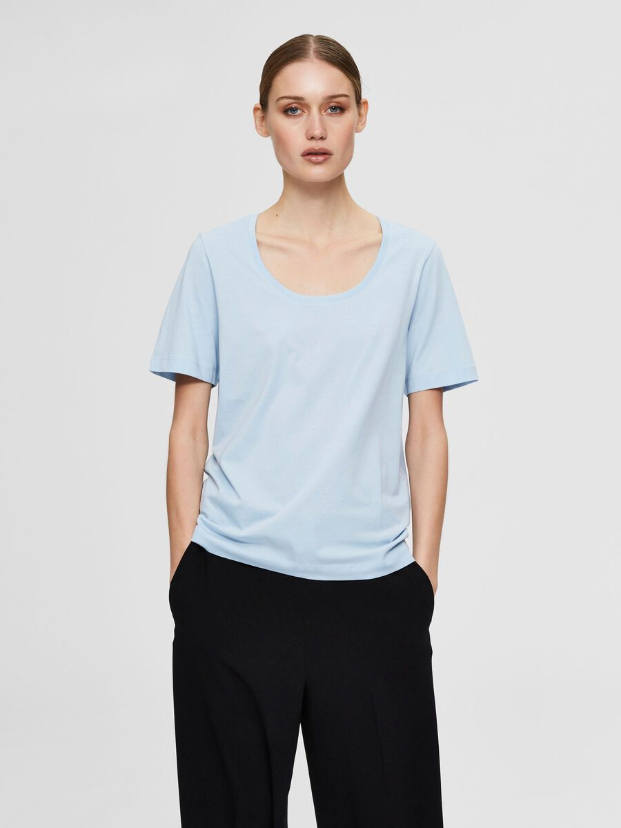 Selected WIDE NECK - T-SHIRT, Cashmere Blue, highres - 16077339_CashmereBlue_003.jpg