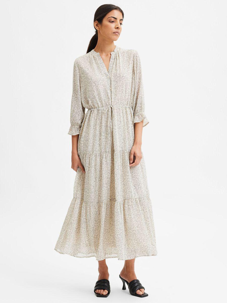 Selected 3/4 SLEEVED MAXI DRESS, Birch, highres - 16080873_Birch_876757_003.jpg