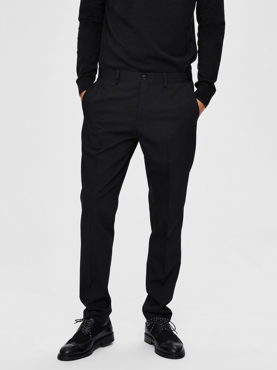 Selected RECYCLED POLYESTER SLIM FIT - SUIT TROUSERS, Black, highres - 16077571_Black_003.jpg