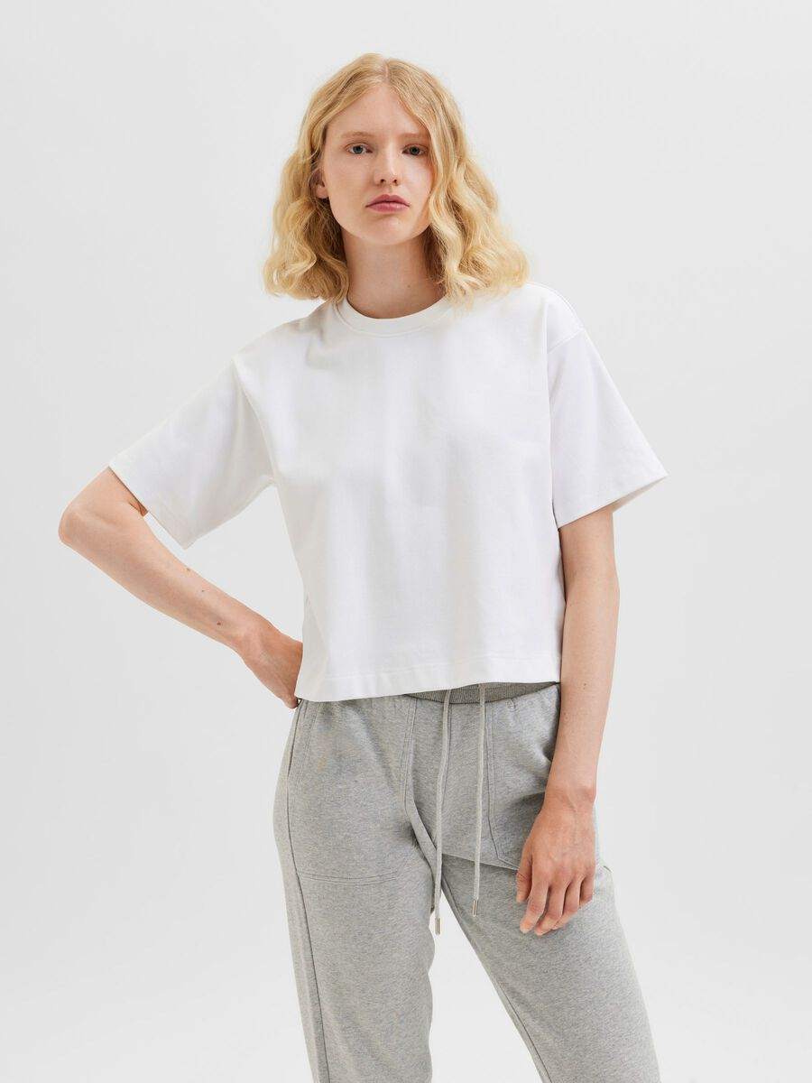 Selected PETITE WIDE CROPPED DROPPED SHOULDER T-SHIRT, Bright White, highres - 16080740_BrightWhite_003.jpg