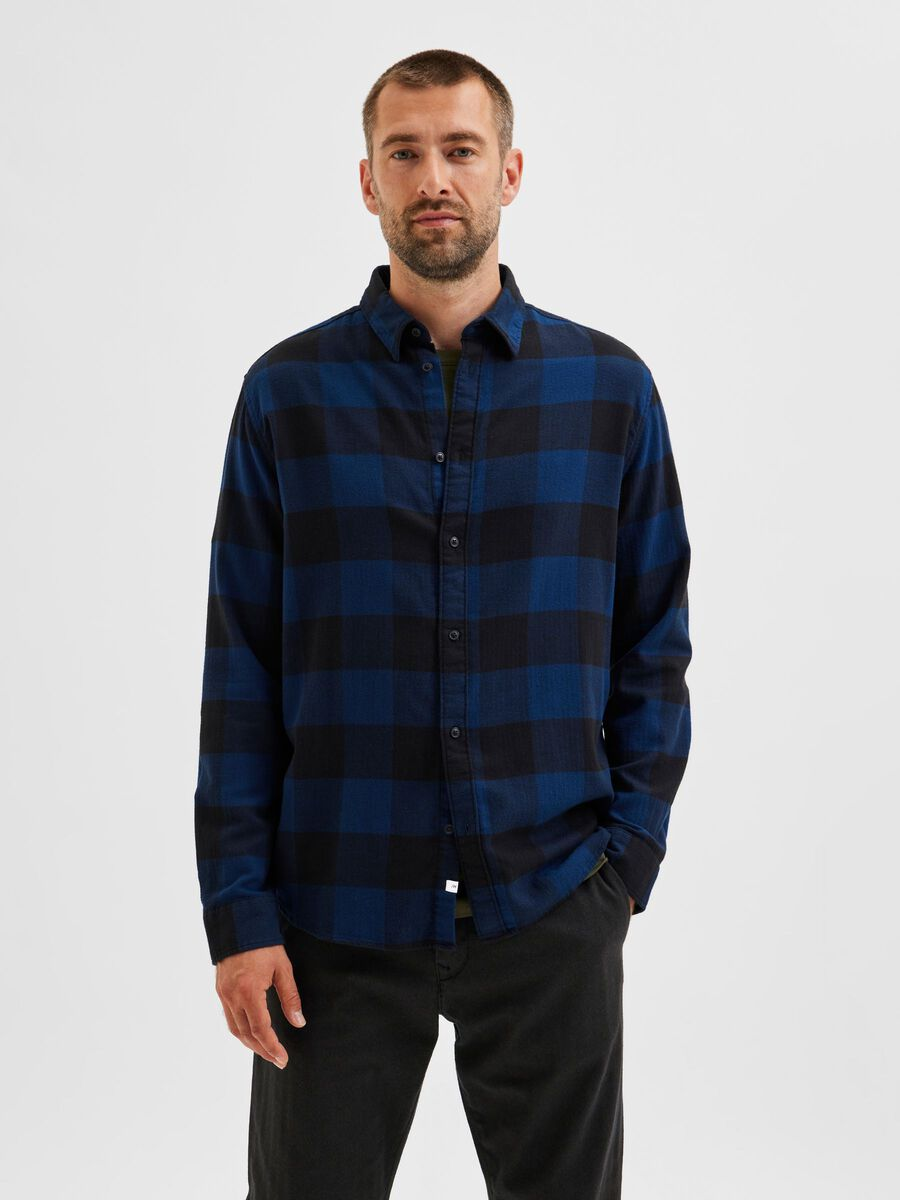 Selected CHECKED LONG SLEEVED SHIRT, Dress Blues, highres - 16080836_DressBlues_876193_003.jpg
