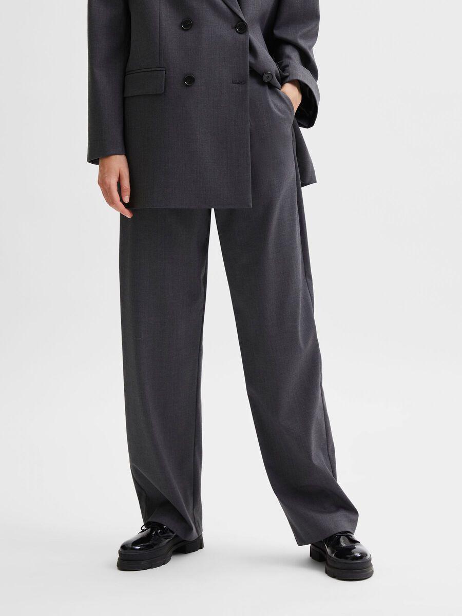 Selected - STRAIGHT LEG HIGH-WAIST BROEK, Medium Grey Melange, highres - 16080453_MediumGreyMelange_003.jpg