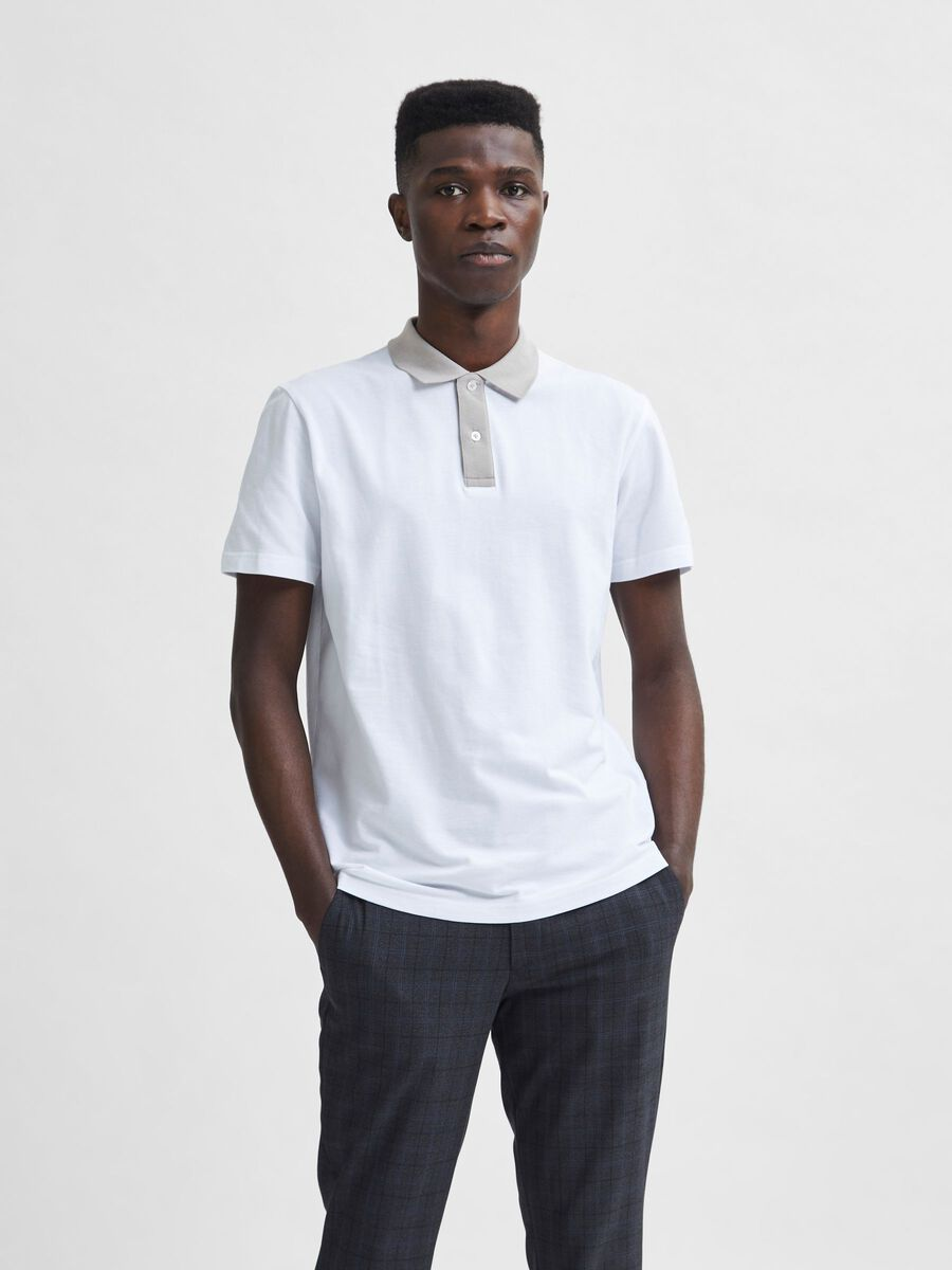Selected CLASSIC CONTRAST NECK POLO SHIRT, Bright White, highres - 16080381_BrightWhite_871932_003.jpg