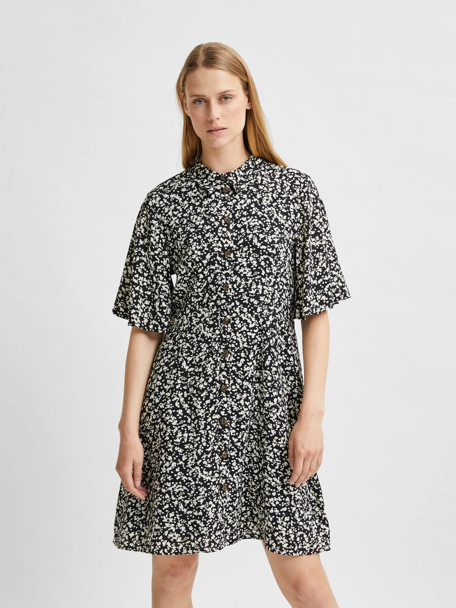 Selected ALL-OVER PRINT WIDE SLEEVE DRESS, Black, highres - 16079343_Black_848870_003.jpg
