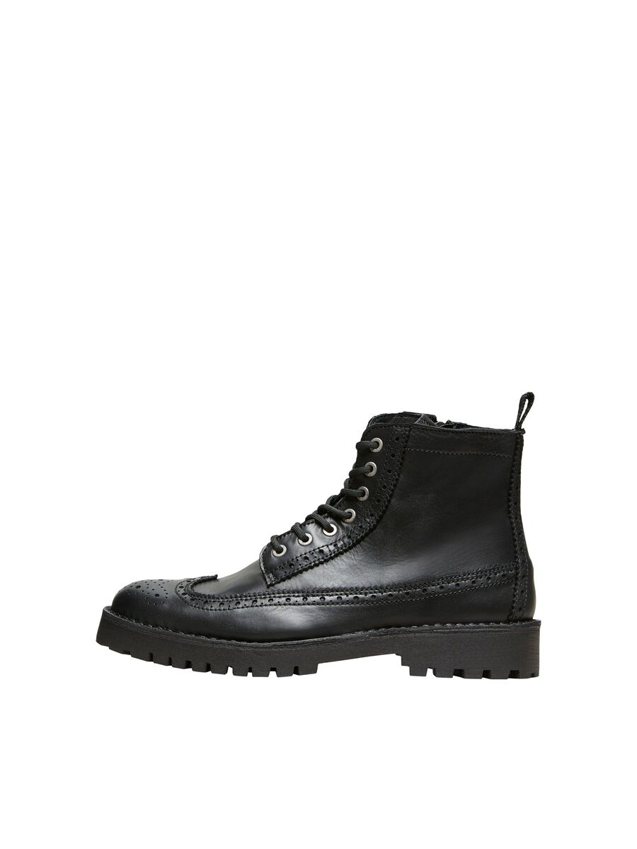 Selected LEATHER BROGUE - BOOTS, Black, highres - 16075857_Black_001.jpg
