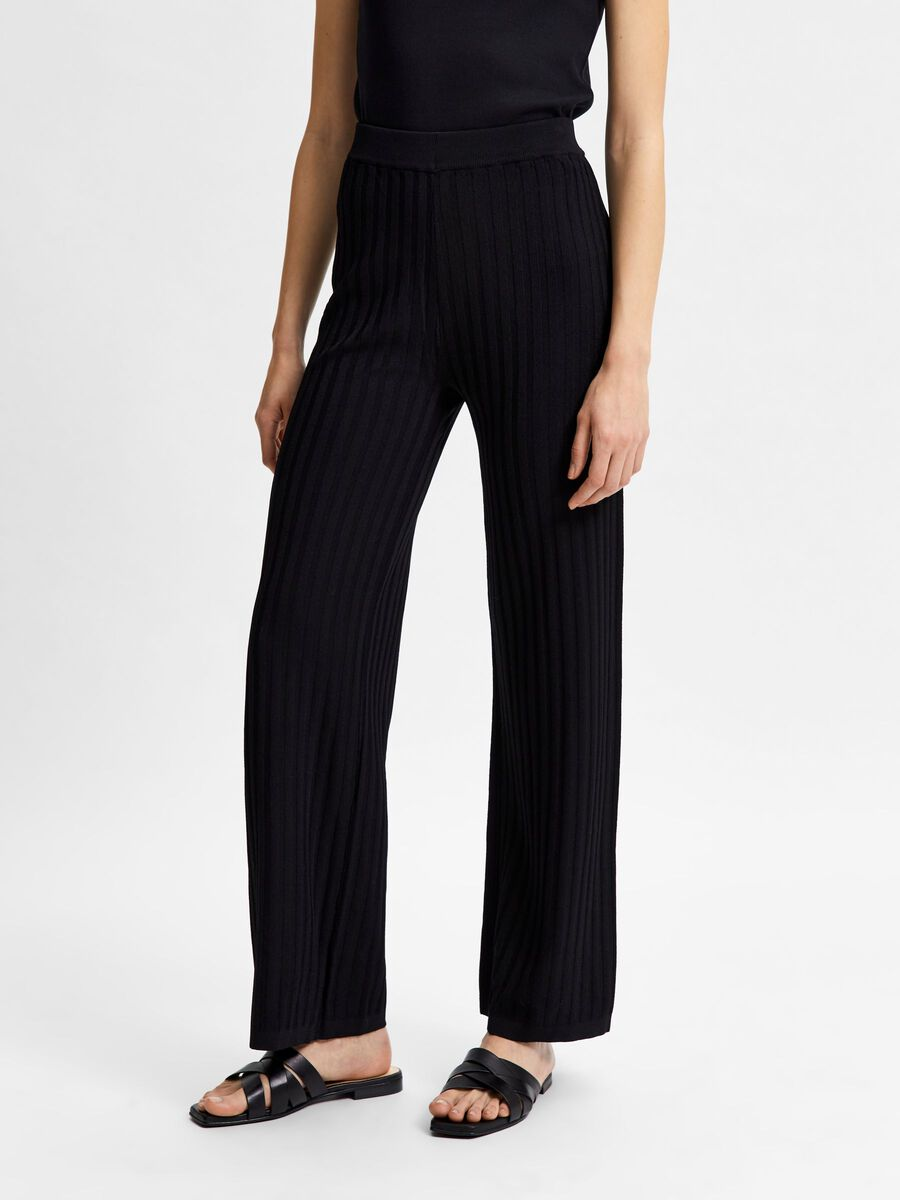 Selected PLEATED KNIT TROUSERS, Black, highres - 16079806_Black_003.jpg