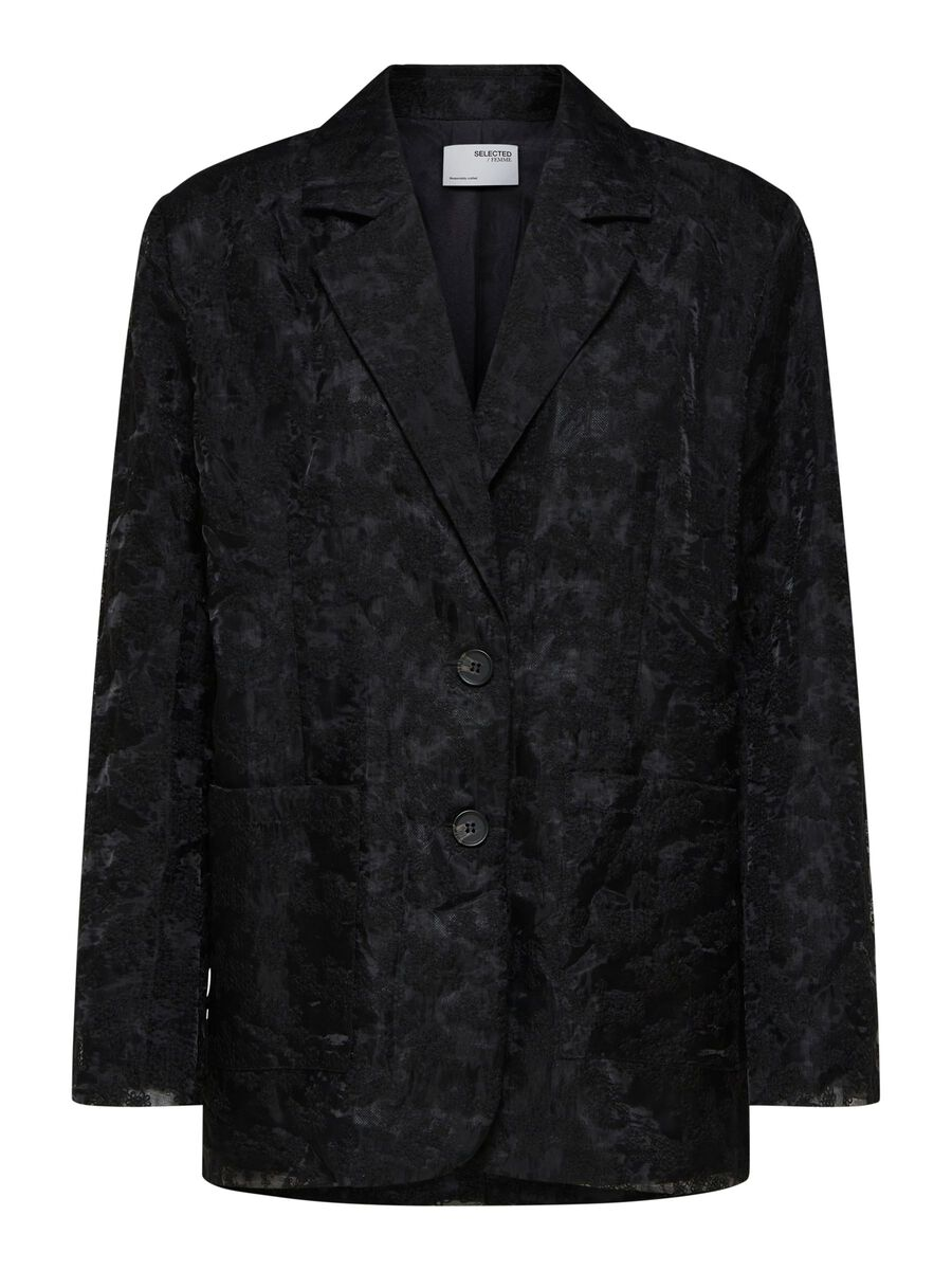 Selected RELAXED FIT LACE BLAZER, Black, highres - 16077997_Black_001.jpg