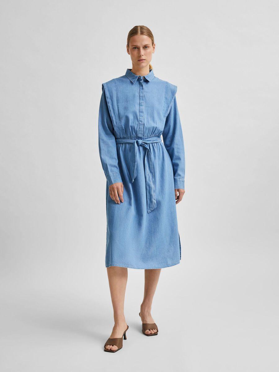 Selected BELTED SHIRT DRESS, Medium Blue Denim, highres - 16079622_MediumBlueDenim_003.jpg