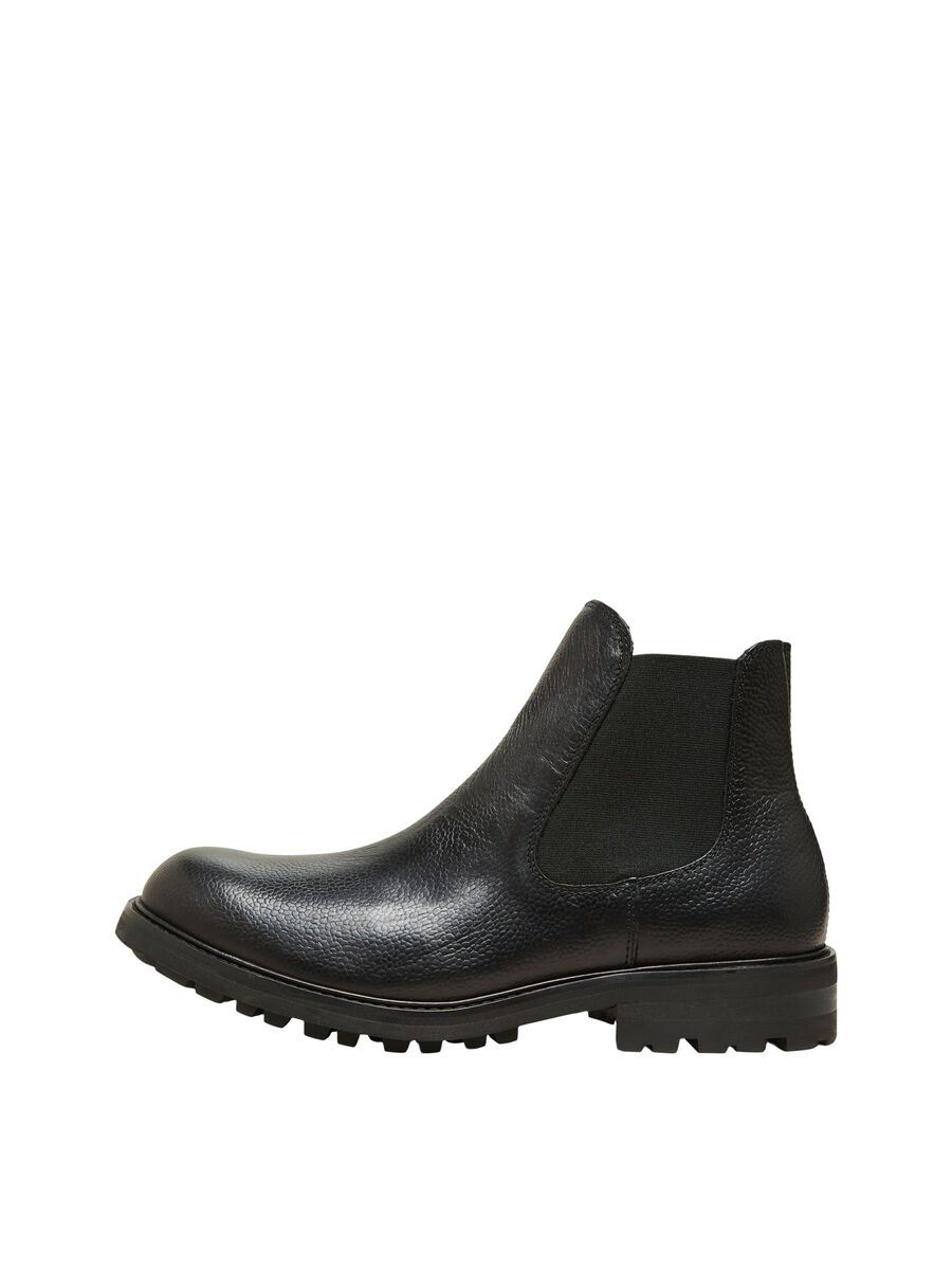 Selected LEATHER ANKLE BOOTS, Black, highres - 16081549_Black_001.jpg