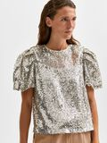 Selected SEQUIN PUFF SLEEVED TOP, Silver, highres - 16080558_Silver_008.jpg
