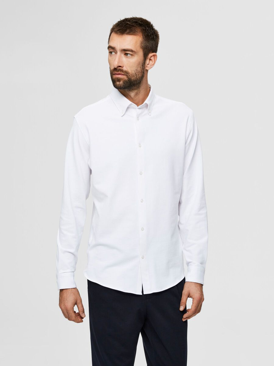 Selected COMFORTABLE ORGANIC COTTON KNIT - SHIRT, Bright White, highres - 16077357_BrightWhite_003.jpg