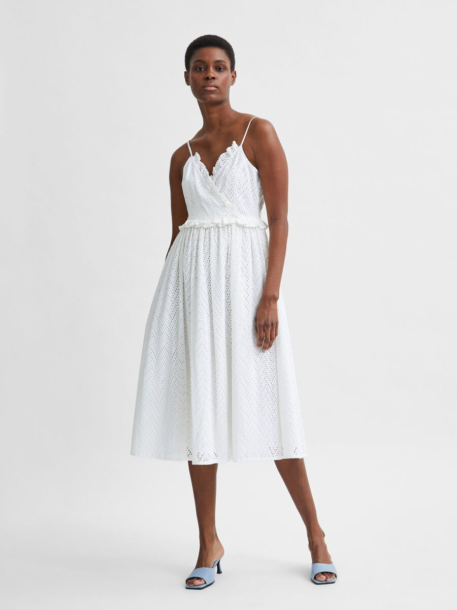 Selected ORGANIC COTTON BRODERIE ANGLAISE STRAP DRESS, Snow White, highres - 16079090_SnowWhite_003.jpg