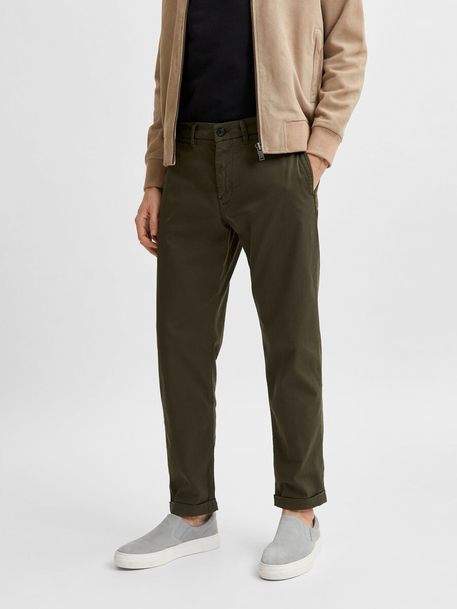 Selected SLIM FIT FLEX ORGANIC COTTON TROUSERS, Forest Night, highres - 16077585_ForestNight_003.jpg
